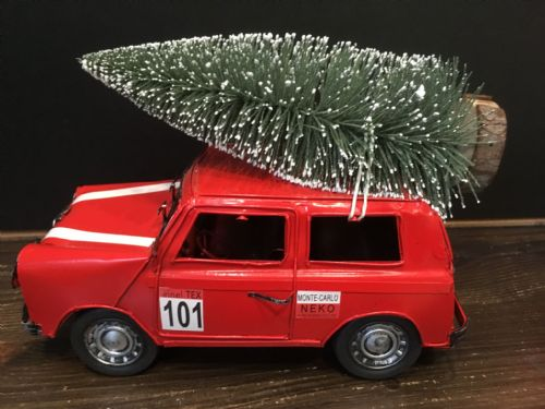 Red Mini Cooper with Tree Ornament
